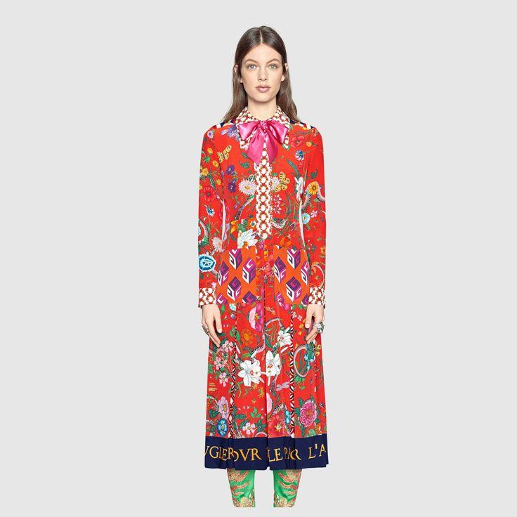 Gucci Patchwork print silk dress Detail 3