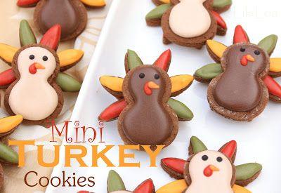 LilaLoa: Mini Turkey Cookies for Thanksgiving