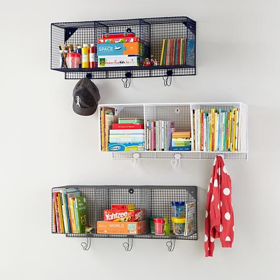 Three Cube Iron Wire Wall Shelf in New Storage | The Land of Nod     36 w x 16.5 h