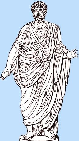 A man wearing a toga in Ancient Rome. The toga has one straight side and one curved side.