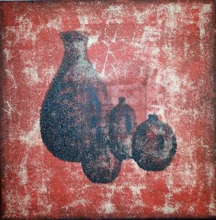"""""""Krukkesamling"""" Akryl på tykt lerret  - 40 x 40 cm"""