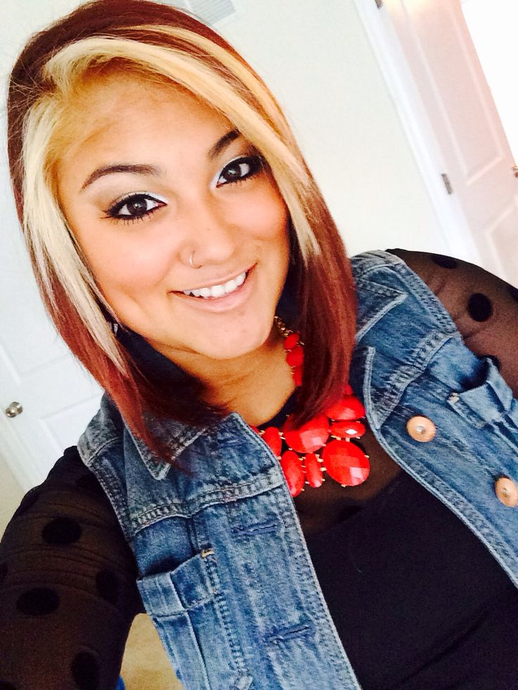 Red Hair Blonde Streak And Bob Cut Haircuts Pinterest