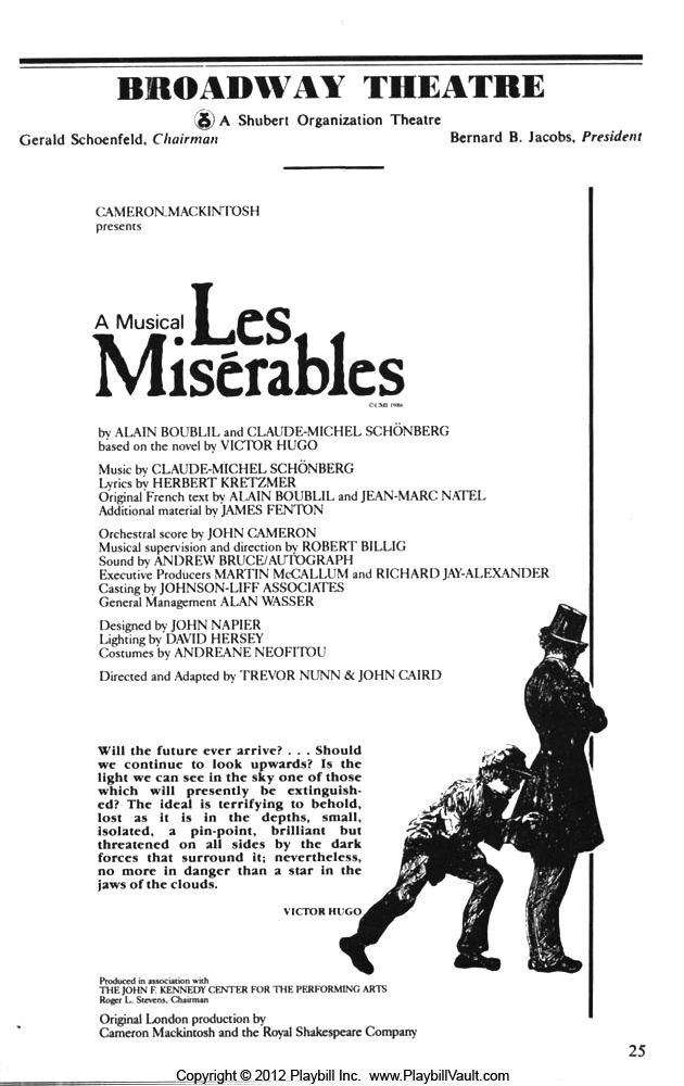 Les Misérables Inside The Playbill on Broadway ...