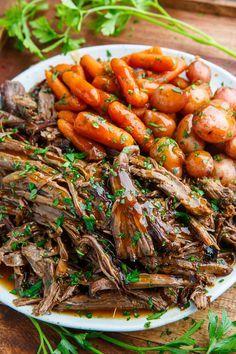 Slow Cooker Balsamic Glazed Roast Beef. A delicious pot roast. #glutenfree