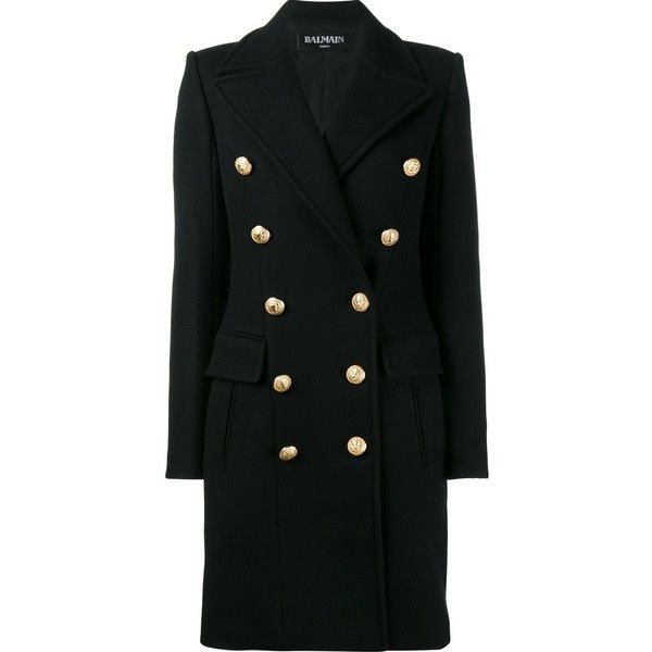 Balmain Sheepskin in Wool With Embroidered Buttons (24.645 NOK) ❤ liked on Polyvore featuring outerwear, coats, black, long sleeve coat, double breasted woolen coat, button coat, balmain coat and woolen coat