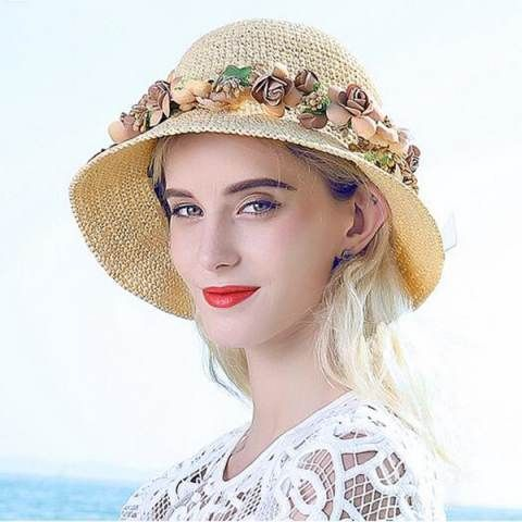 Fashion flower straw beach hats for summer ladies sun hats UV package