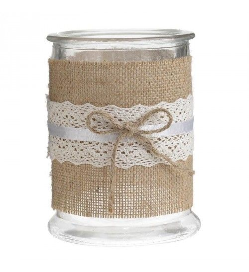 GLASS_FABRIC CANDLE HOLDER IN BROWN D12X16