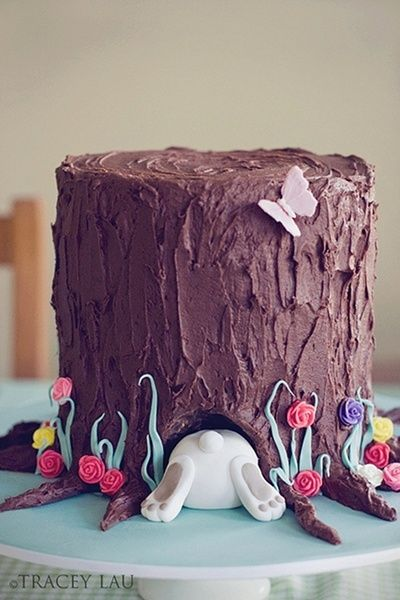 absolutely fantastic Easter bunny in a tree stump chocolate cake.