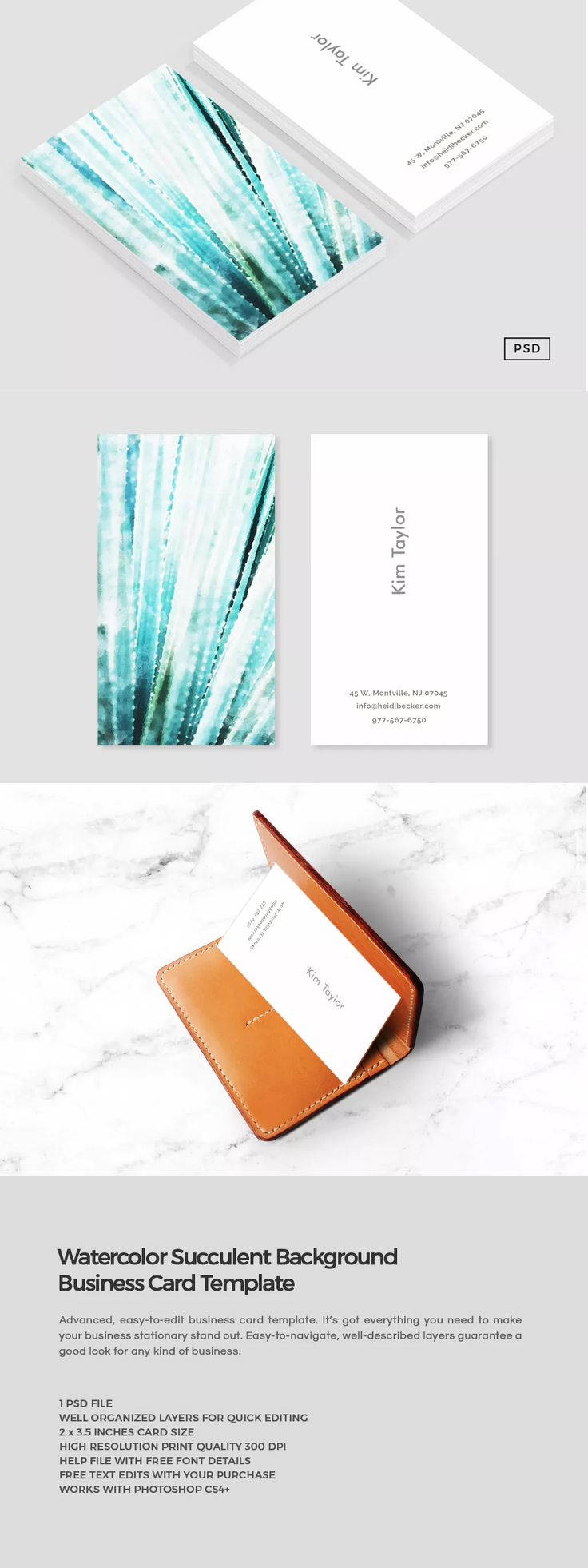 260 best business card templates images on pinterest watercolor succulent business card template psd accmission Image collections