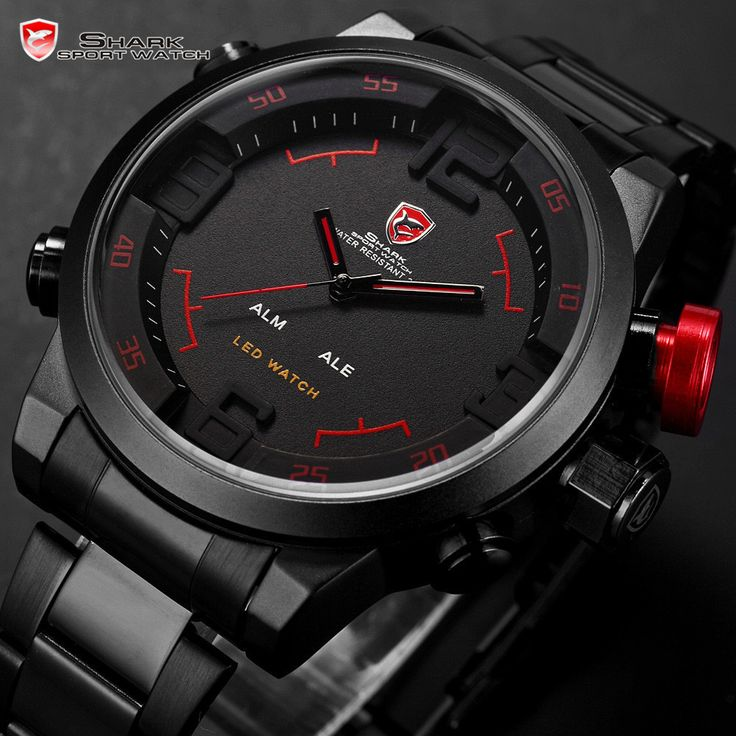 51 best images about watches stainless steel mens 3d shark digital led date analog big face sport steel quartz wrist watch