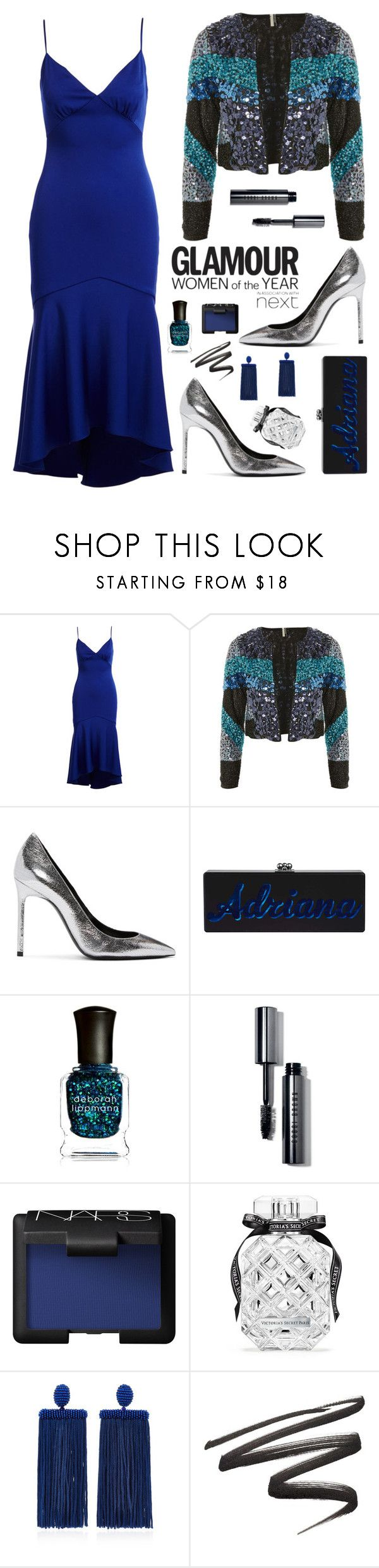 """Glam for New Year in blue"" by kika-lv ❤ liked on Polyvore featuring Theia, Topshop, Yves Saint Laurent, Goody, Deborah Lippmann, Bobbi Brown Cosmetics, NARS Cosmetics, Victoria's Secret and Oscar de la Renta"