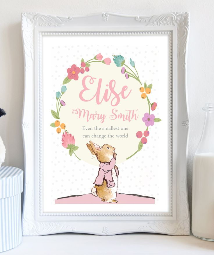 A4 Personalised Peter Rabbit Beatrix Potter Print Flower Picture Christening Birthday Gift Present for Baby Girl Nursery Art Unframed. by DaisyandDoodles on Etsy