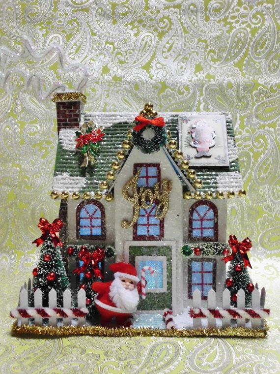 SOLD - Similar Custom Designs Available Please Contact Me - Christmas House Bottle Brush Trees Putz House Vintage Santa Holding Candy Cane