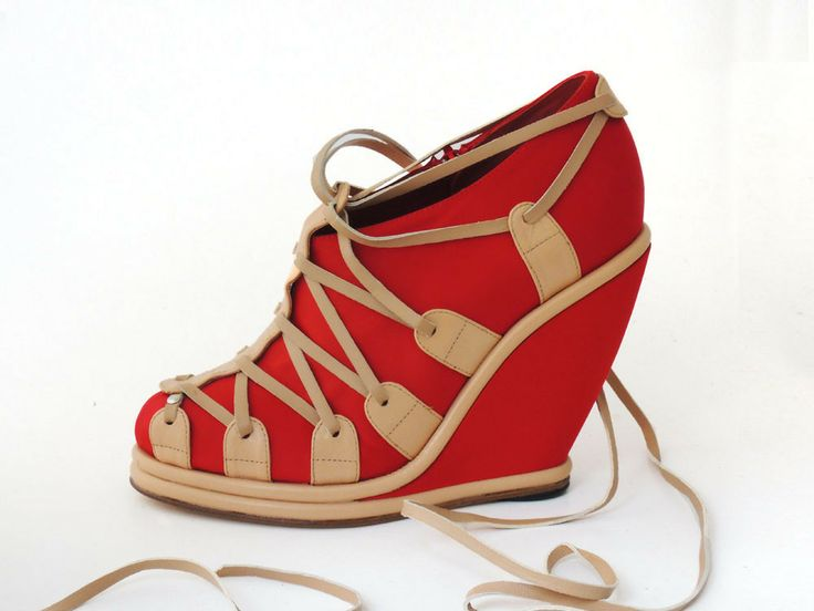 Preston Zly SELINA WEDGE - red satin corseted in leather http://prestonzly.bigcartel.com/product/selina-wedge