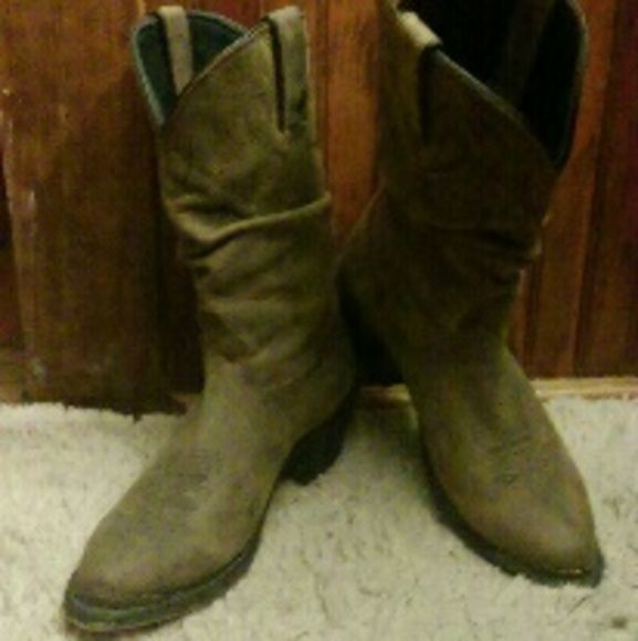 """?COWBOY BOOTS? Gorgeous soft leather slouch boots. Worn less than 5 times, very comfortable. Heels are right around 2"""". It looks like there are nicks and scratches on the boots but they came that way DURANGO by Western Outfitters. Shoes Heeled Boots"""