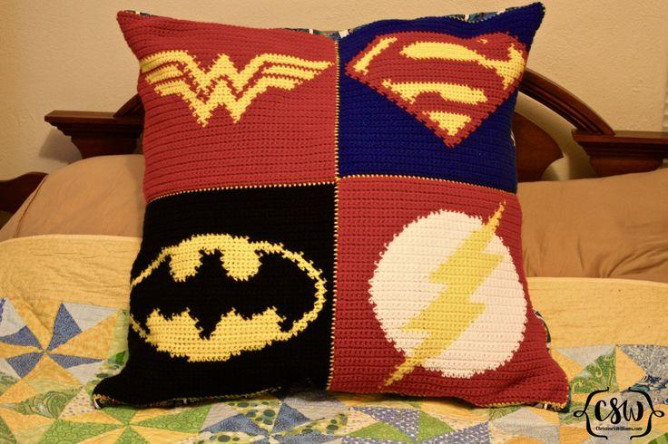 Batman Cushion Knitting Pattern : 1000+ ideas about Superman Crochet on Pinterest Crocheting, Crochet Dolls a...