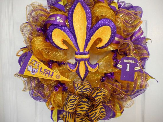 LSU Tigers Deco Mesh Door Wreath, Tiger Stripe Deco Mesh Door Wreaths, College Dorm Wreath
