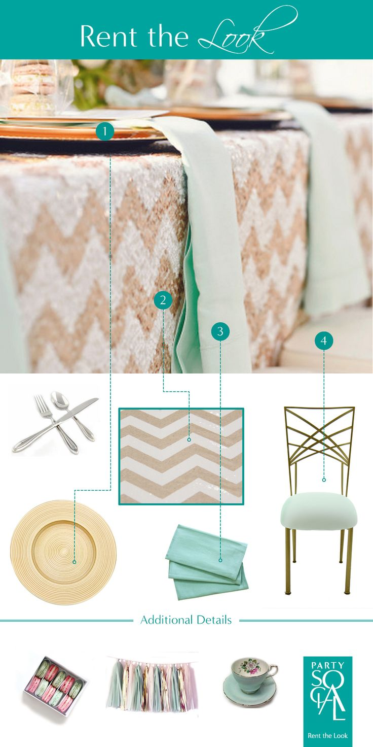 Recreate this trendy look with chevron sequins, gold plates and a pop of teal. Set the theme to high tea with vintage tea cups and macaron party favors.  Inspired by @stylemepretty : Michigan Wedding from Amanda Dumouchelle + Take A Seat Gallery.   1) Gold Lined Charger Plate and Sheraton Oneida Cutlery 2) Blush Chevron Tablecloth  3) Teal Napkins 4) Chameleon Chair  All available @ Party Social