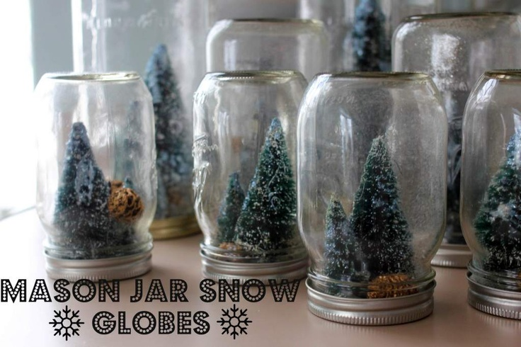 inspired & crafted: homemade holiday mason jar snowglobes with tiny sparkly christmas trees
