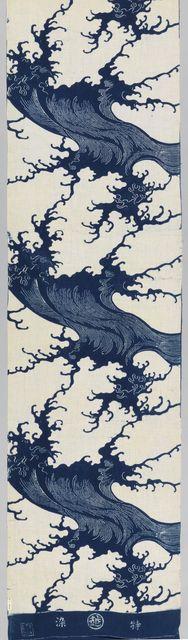 "Japanese ""yukata"" for summer kimono. Bold, stylized wave motif in indigo and white. Textile, early 20th century. early 20th century. Medium: cotton Technique: plain weave, indigo-dyed, resist applied with stencil (katazome)"