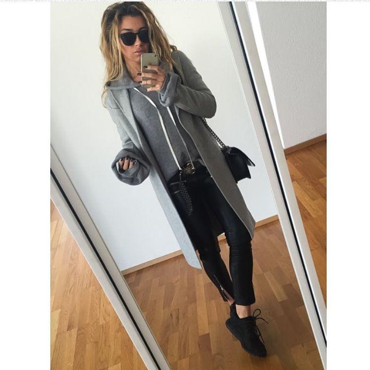 """Despina Petric on Instagram: """"#messyhairdontcare#busyday#comfylook#unravel#hoodie#sandroparis#coat#mango#leatherpants#yeezy#yeezyboost350#chanel#boybag#streetstyle#streetfashion#moodoftheday#fashionblog#onthego#zurich"""""""