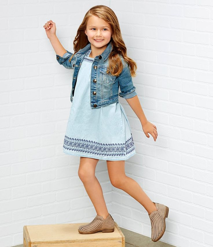 Jessica Simpson Little Girls 2T-6X Short-Sleeve Embroidered Chambray Dress