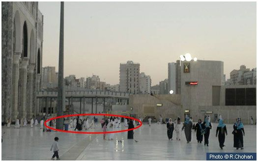 House of Khadija (r.a.) - This is the approximate region, outside the Marwah exit, where the house of Ummul Mu'mineen Khadija (r.a.) was located. It was here that the Prophet (s.a.w.) lived from the time of his marriage to her until he emigrated to Madinah. More information: http://www.islamiclandmarks.com/saudi/makkah/haram_sharief/house_of_khadija_ra.html