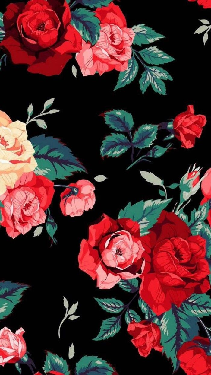 Mobile hand-painted wallpaper illustrator Rose Floral ...