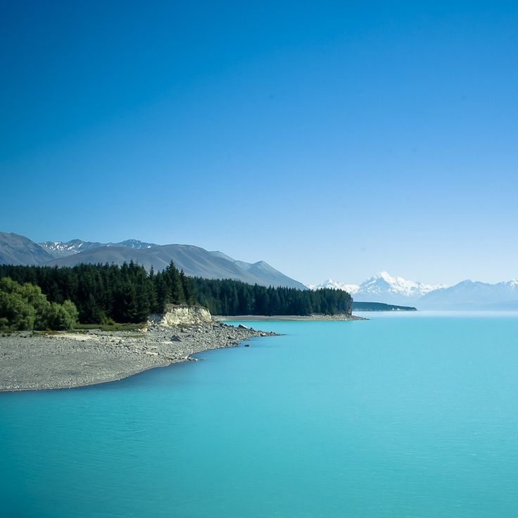 . blue / turquoise / aqua must see lake Pukaki  South Island New Zealand Mount Cook