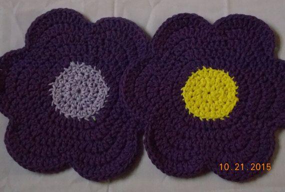 Purple Flower Dishcloths. Set of 2, Crochet Flower, Flower Washcloth,Flower Facecloth  Rag, Purple Flower, Crochet Dishcloth