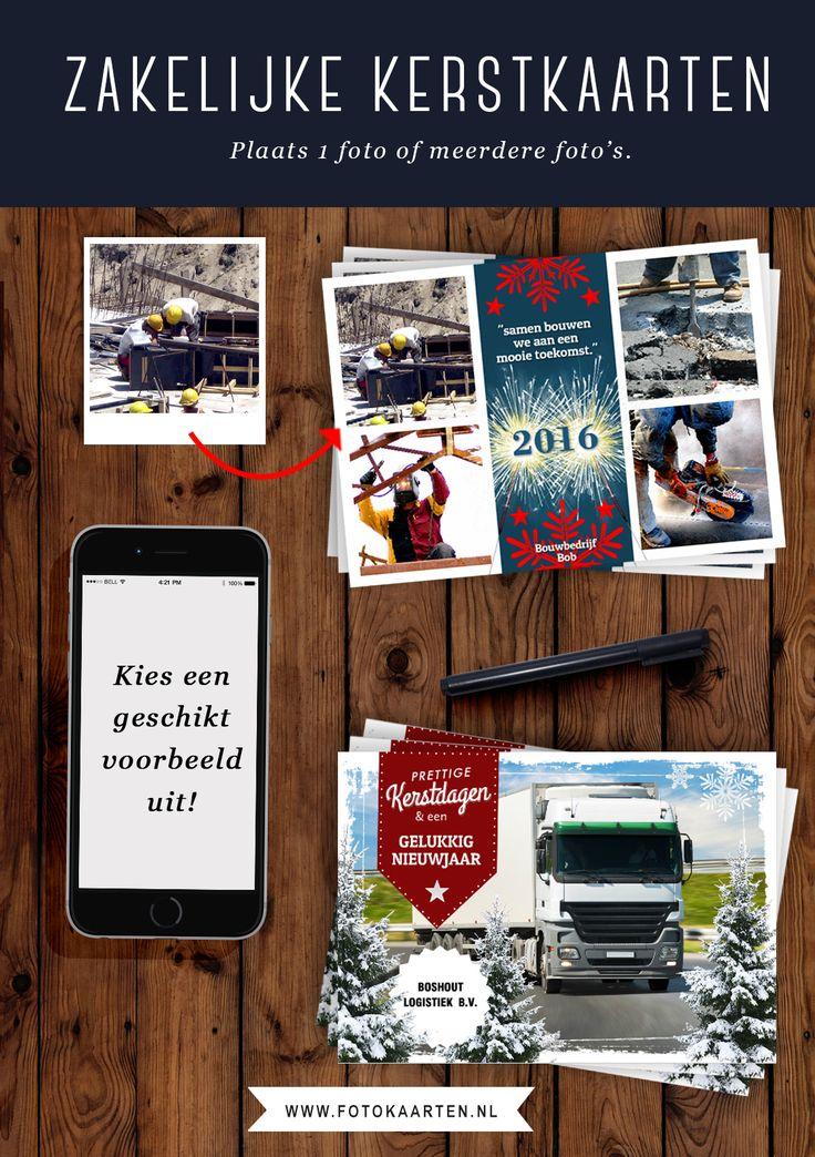 Als bedrijf maak je je kerstkaarten persoonlijker met foto's. Maak gebruik van de vele voorbeelden die op www.fotokaarten.nl te vinden zijn, waar je je eigen foto's vervolgens in kunt plaatsen. We hebben sjablonen waar je ook meerdere foto's op kwijt kunt. Zo kun je je succesprojecten van het afgelopen jaar laten zien en heb je een grote kans dat je klanten je weer inhuren in het nieuwe jaar!
