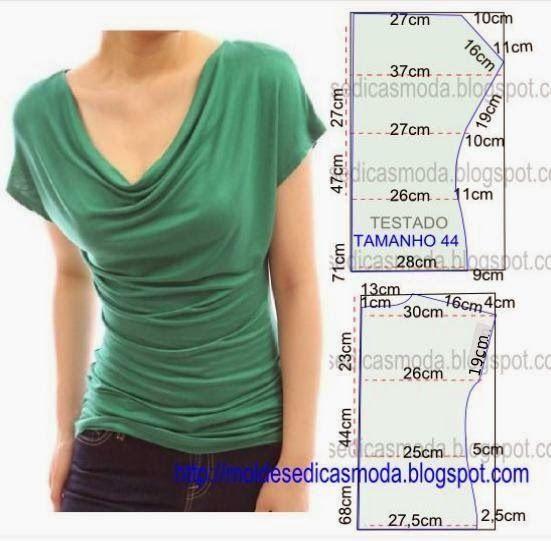 PASSO A PASSO MOLDE DE BLUSAO molde de blusa casual encontra-se no tamanho 44. Nota: A ilustração do molde blusa não tem valor de costura.  Corte um retângulo de tecido com a altura e largura que pret