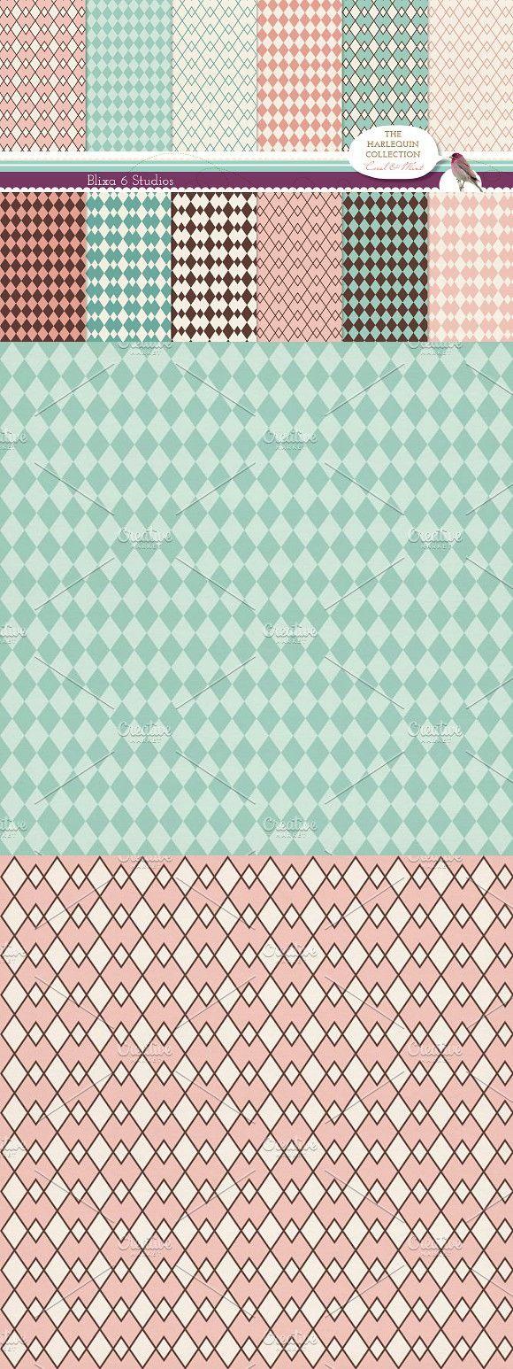 Harlequin Patterns on Vintage Paper. Patterns. $11.00