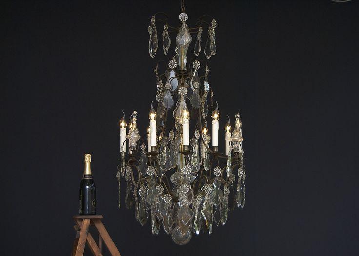 Grote 19e eeuwse Franse kristallen kroonluchter met 8 lichtpunten