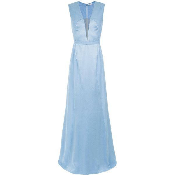 Tufi Duek tulle panel gown ($1,025) ❤ liked on Polyvore featuring dresses, gowns, unavailable, light blue evening dress, tulle ball gown, blue dresses, light blue ball gown and tulle gown