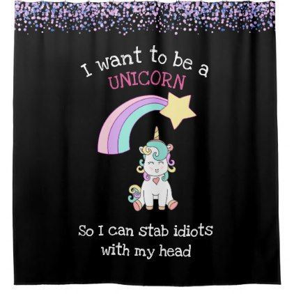 Edgy Unicorn with Rainbow and Confetti Funny Shower Curtain