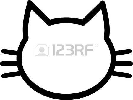 silueta de gato: Cabeza pictograma Gato Vectores