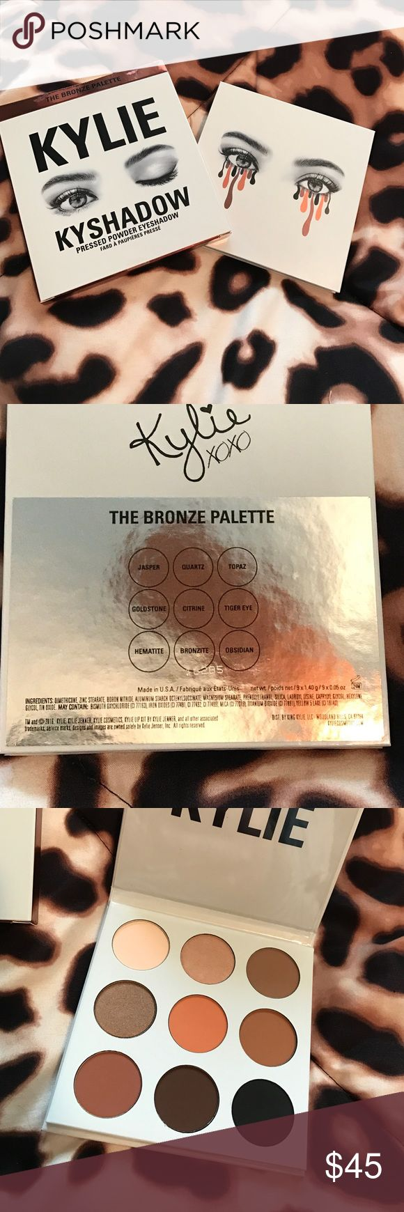 Brand new Kylie cosmetics bronze palette Brand new never been used Kylie cosmetics bronze palette. Colors look beautiful but the kind of colors that work for my skin tone. I purchase everything from Kylie's website, everything is 100% authentic Kylie Cosmetics Makeup Eyeshadow
