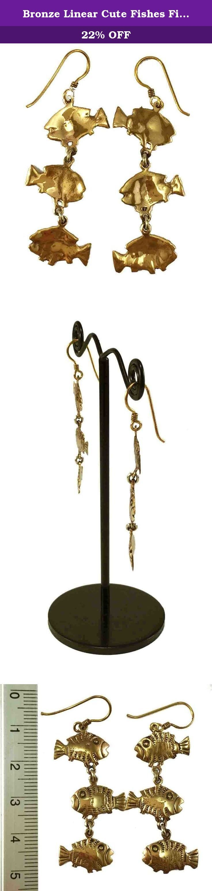 Bronze Linear Cute Fishes Fish Hook Drop Dangle Earrings Vintage Thailand Jewelry. -Good quality Bronze. -100% Satisfaction Guarantee. -Delivery Lead times: 14-21 days -Actual color may be vary from the pictures due to lighting or monitor. -Scaled picture may have some tolerance.
