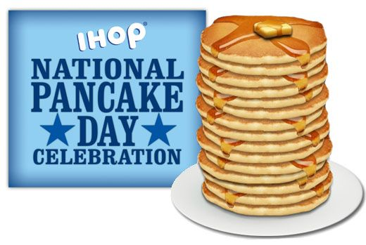On March 4, 2014, IHOP will be offering FREE pancakes in honor of National Pancake Day. Guests can enjoy one free short stack of buttermilk pancakes.  In return for free pancakes, guests are asked to consider giving a donation to the Children's Miracle Network Hospitals or other local charities.