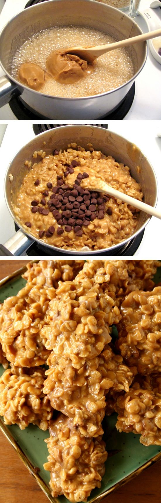 Stove Top Peanut Butter Cereal Cookies   No baking required! Made with Special K, but you could also make them with Rice Krispies or any other cereal.