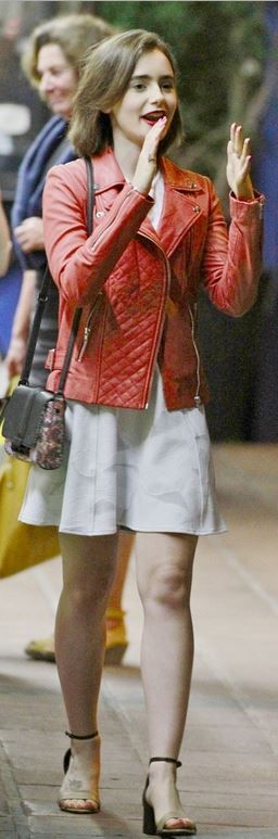 Who made Lily Collins' floral handbag and red leather jacket that she wore in Los Angeles on June 25, 2014