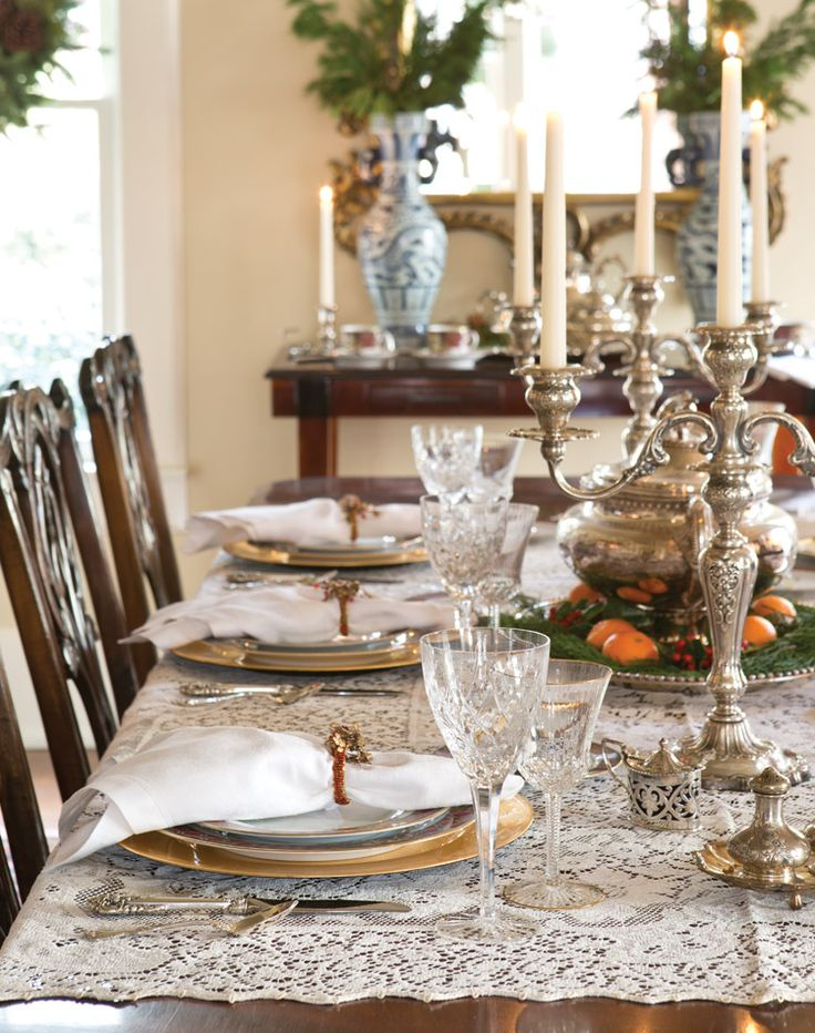 Fine pieces, such as a circa-1860 silver tureen from Scotland, lend a mark of distinction to Victorian holiday decor.
