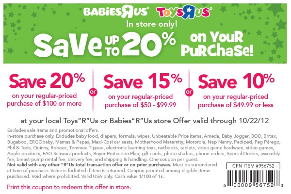 Babies R Us Coupon Oh, baby! Save 1020 off your