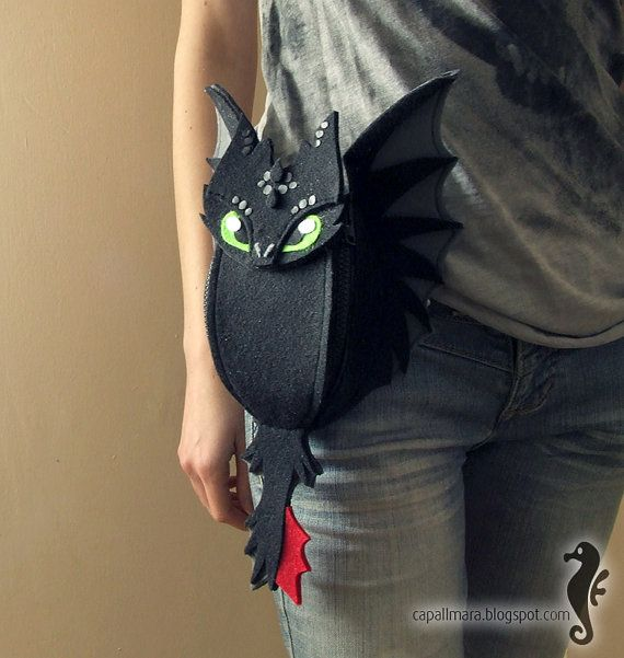 Hip bag Toothless - funny, cute black dragon - felt - wings - for fan - how to train your dragon