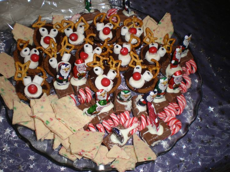 White candy bark is one of our faves. Put candy canes in a ziplock bag and wrap in a tea towel, small hammer, safe place and get the kids to hammer the crap of the canes and then place in melted white chocolate and spread onto baking paper!!  Teddy sleighs and rudolph biscuits are common these days, so no need for an explanation.