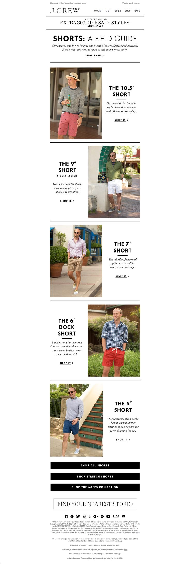 That's a whole lotta social buttons to fit into this email footer, but J. Crew pulls it off with a simple, all-black design. Sleek email footer design work! #emaildesign Click for more on email footer design best practices.