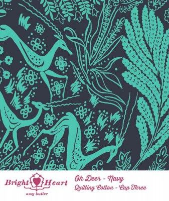Amy Butler Bright Heart Oh Deer Navy Fabric