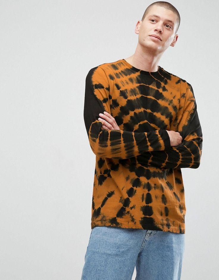 ASOS Longline Long Sleeve T-Shirt With Spiral Tie Dye In Rust - Orange