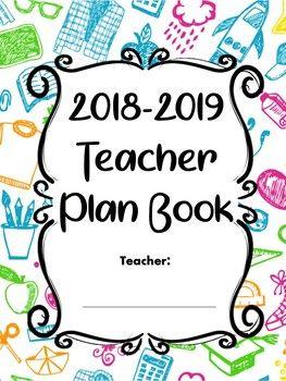 teacher plan book and calendar blue school pattern editable